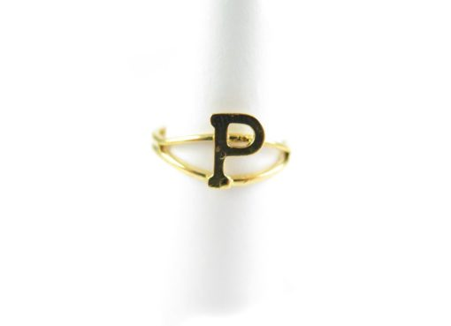 Gold initial letter P adjustable one size fits most ring