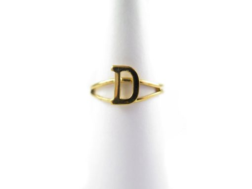 Gold initial letter D adjustable one size fits most ring