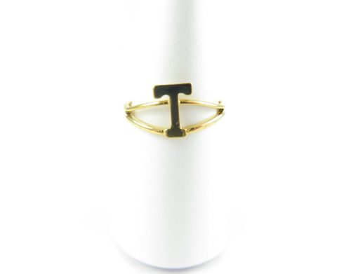 Gold initial letter T adjustable one size fits most ring