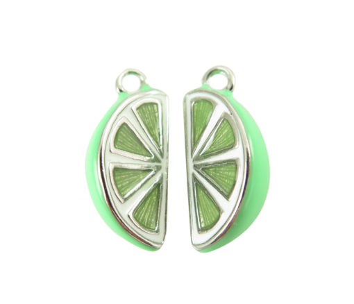 rhodium plated lime slice charms