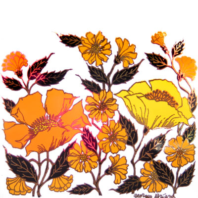 orange and yellow flowers on a tile