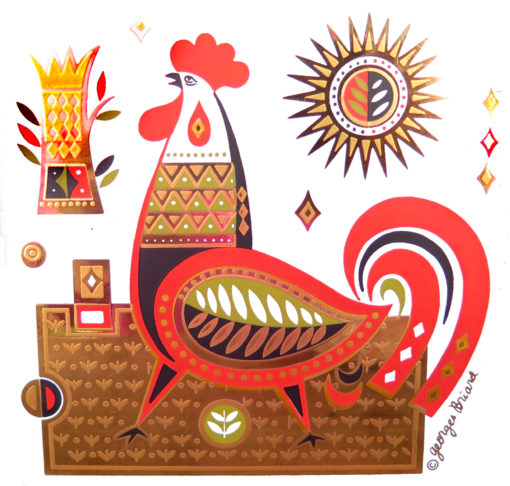 orange brown and bronze rooster tile