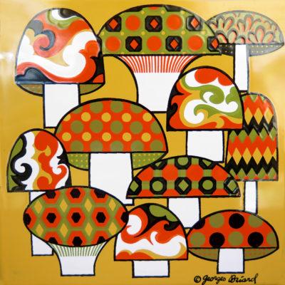 retro mushroom vintage tile