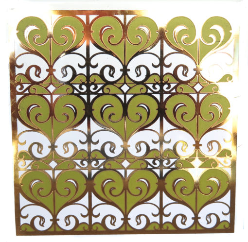 Green and gold swirly heart design vintage tile