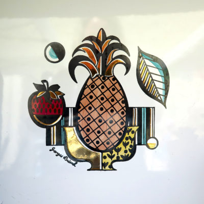 pineapple and strawberry vintage tile