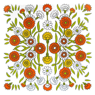 orange white and yellow retro flower tile