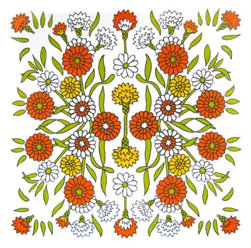 orange white and yellow retro flower tile