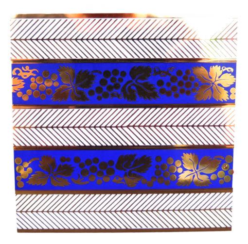 blue white and gold grape vine tile