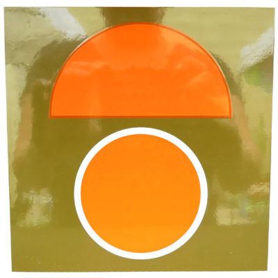 orange and olive green mid century design tile with circle and half circle