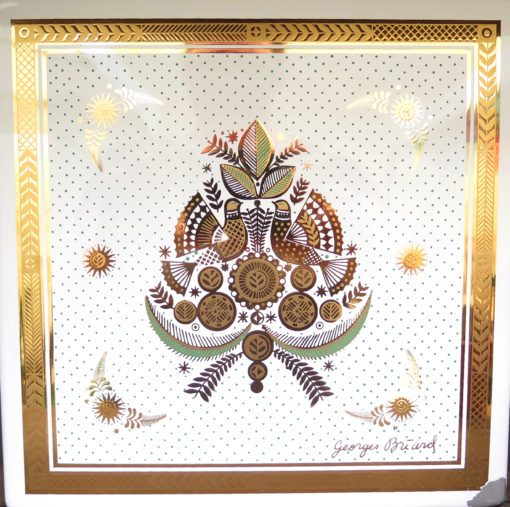 two doves in a floral bouquet design with green gold and white colors square tile