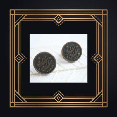 antiqued brass zodiac stud earrings gemini