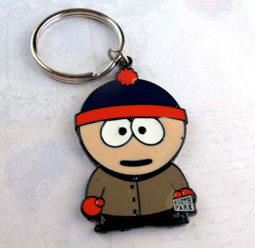 colorful enamel keychain of Stan from south park