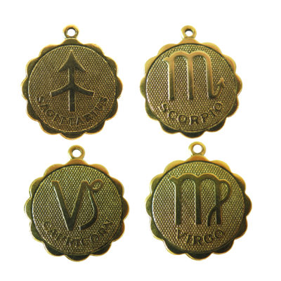 antiqued astrological pendants