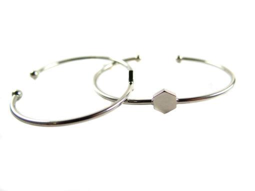 rhodium plated hexagon cuff