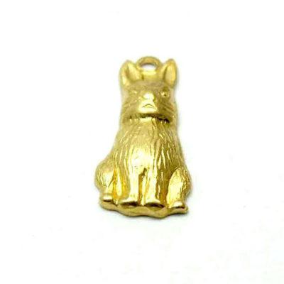 tiny brass hollow bunny charm