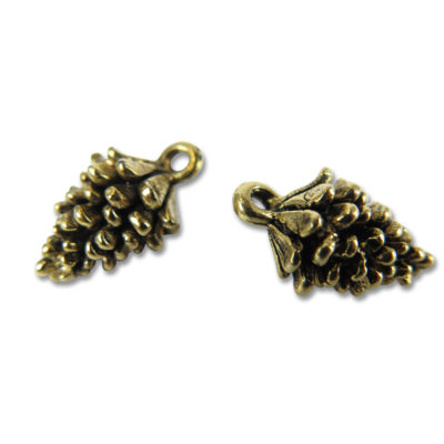 antiqued gold plated pine cone charms