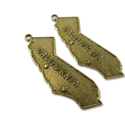 antiqued gold plated California pendant