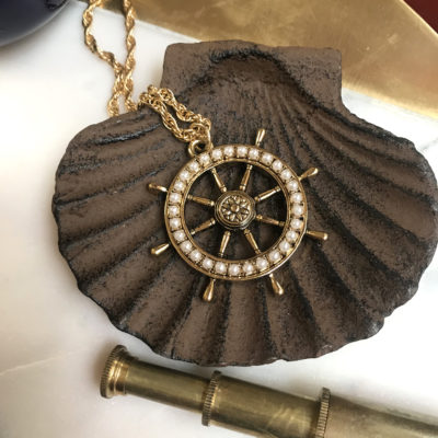 pearlized wheel at the helm necklace