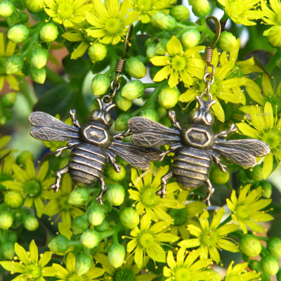 brass bumble bee earrings