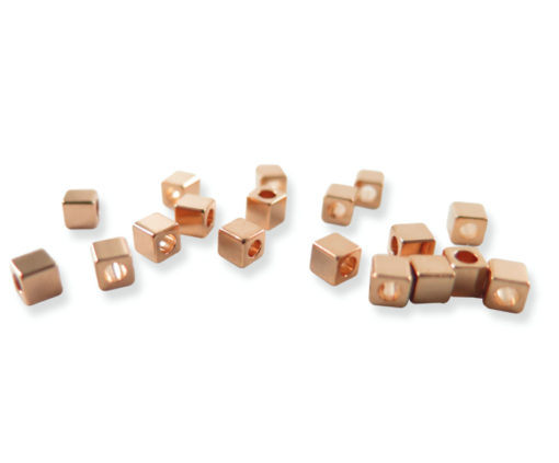 rose gold plated cube bead