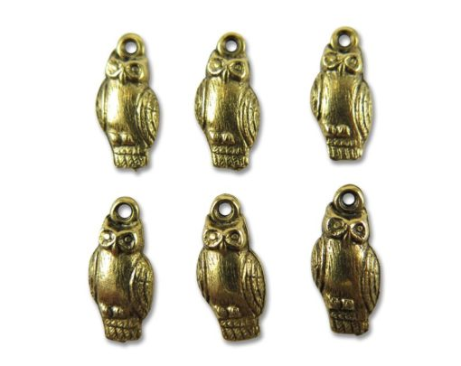 antique gold plated owl charms