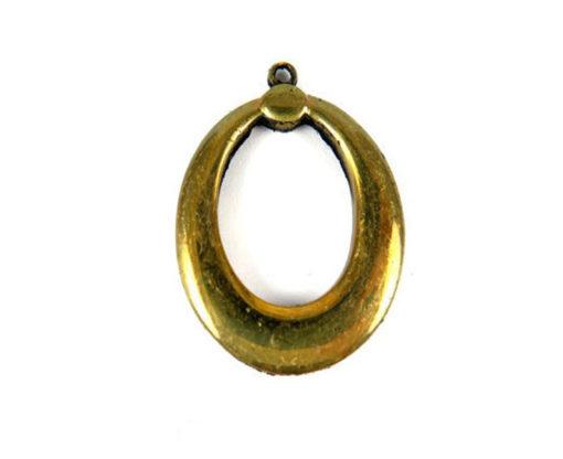 vintage tarnished brass oval pendant