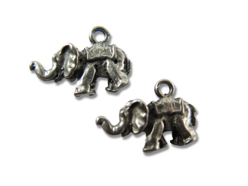 antiqued rhodium plated elephant charms