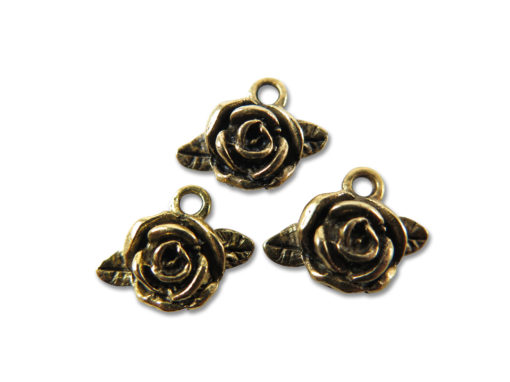 antiqued gold plated rose flower with leaves charm
