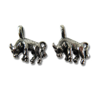 antiqued rhodium plated bull charms