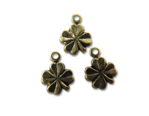 tiny vintage antiqued brass four leaf clover charms