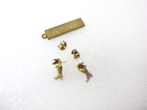 vintage gold plated boot stud earring findings with rhinestone