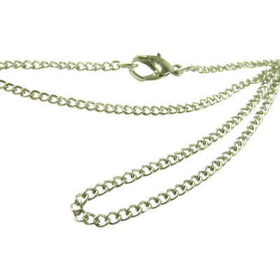 rhodium plated curb chain with lobster clasp