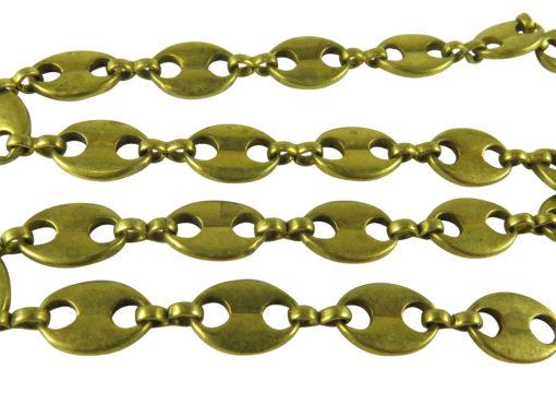 vintage brass charm link chain