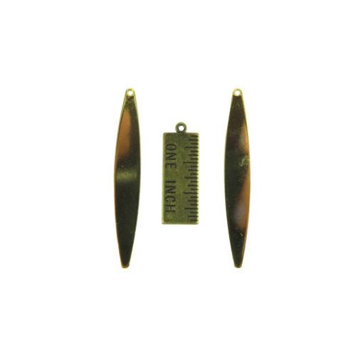 Brass Oval Engraving Stick Pendants