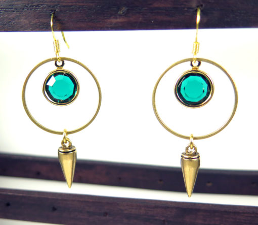 emerald green dangly earrings with round hoop