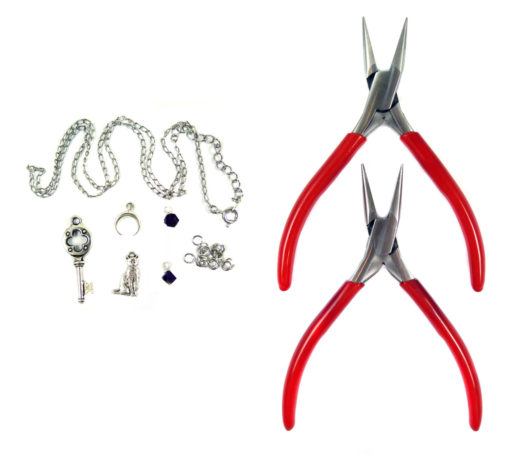silver tone DIY charm kit with key moon cat crystal jump rings and chain and pliers