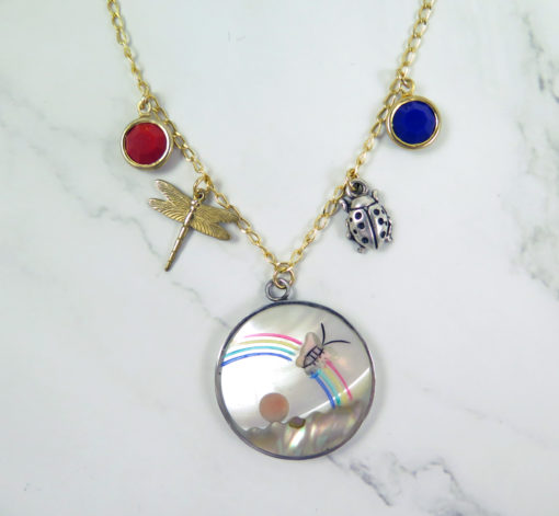 MOP pendant with butterfly and rainbow crystal charms lady bug and chain with 2 pliers