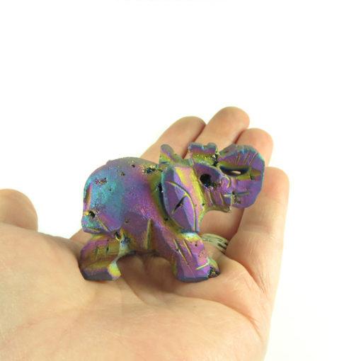 titanium electroplated druzy quartz elephant