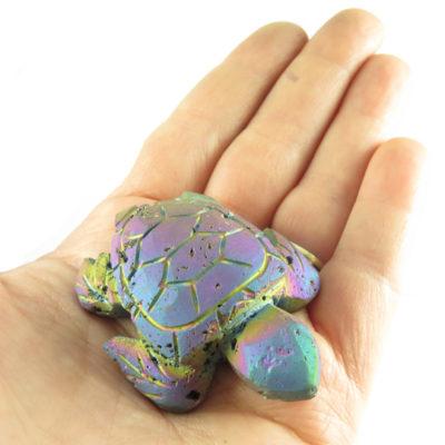 titanium electroplated druzy quartz turtle