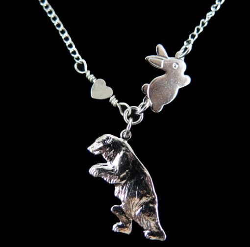 rhodium plated bear with bunny and heart necklace