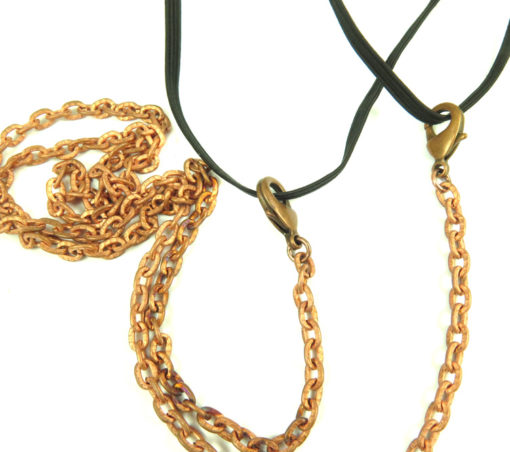 ant. copper tarnished cable chain masklace