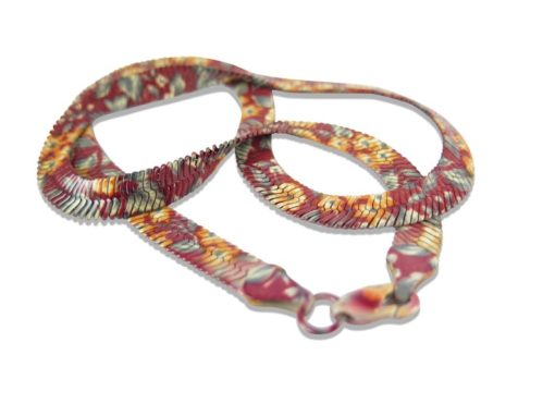 floral print serpentine chain necklace