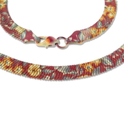 floral print serpentine chain necklace
