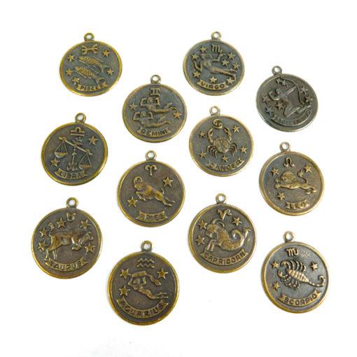 antiqued brass astrological circle pendants