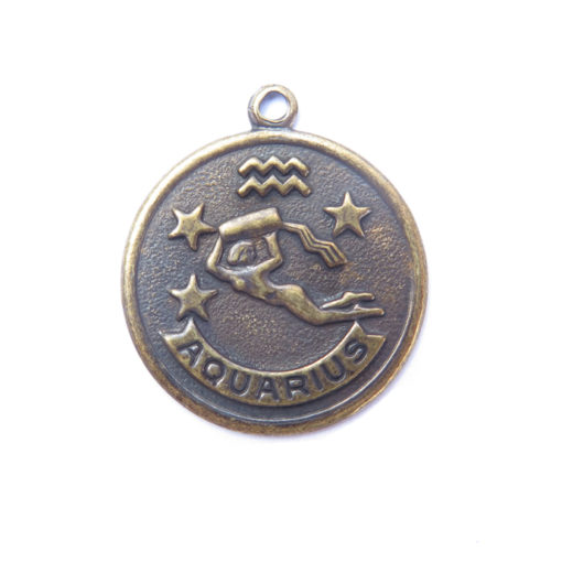 antiqued brass zodiac coin - Aquarius