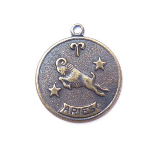 antiqued brass zodiac coin - Aries