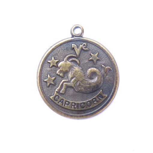 antiqued brass zodiac coin - CAPRICORN