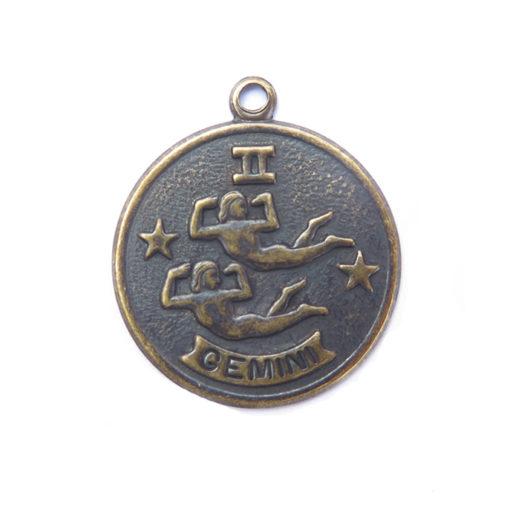 antiqued brass zodiac coin - gemini