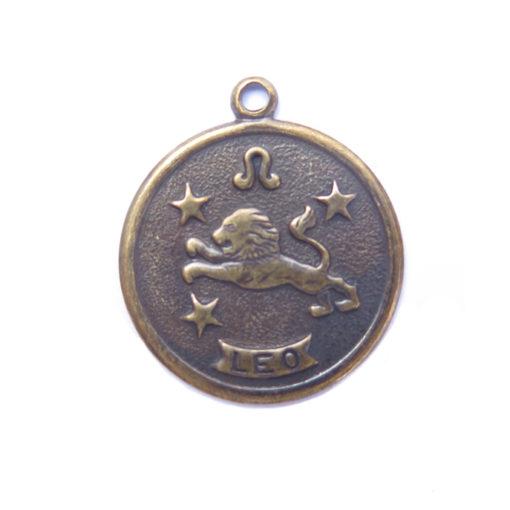 antiqued brass zodiac coin -leo