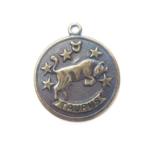 antiqued brass zodiac coin - taurus